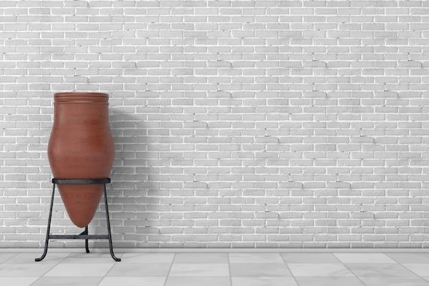 Gliniany kosz na śmieci garnek przed ceglanym murem. renderowanie 3d