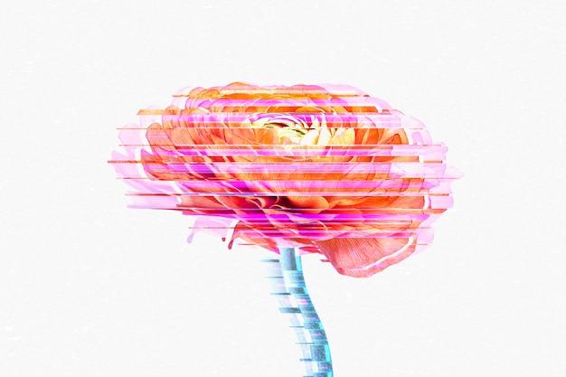 Glitch kwiat abstrakcyjne tło tapety na pulpit
