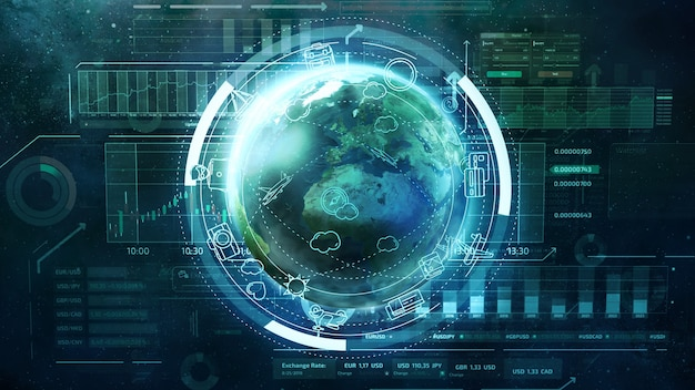 Glob otoczony infografikami na temat ekonomii i podróży oraz danych biznesowych