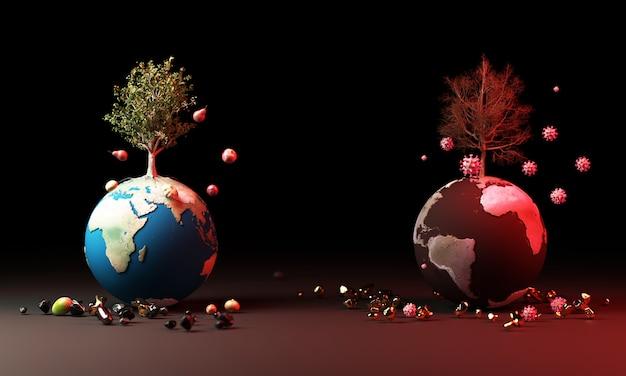 Glob z drzewami i owocami oraz koronawirusem w koncepcji ostrzegawczej renderowania 3d