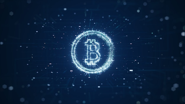 Globalna abstrakcyjna technologia blockchain kryptowaluty bitcoin. cyfrowa waluta bitcoin, futurystyczne pieniądze cyfrowe, koncepcja technologii na całym świecie. renderowanie 3d.