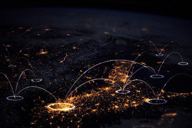 Globalna sieć inteligentna technologia tła miasta