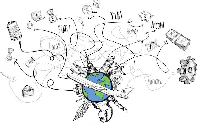 Globalne doodles biznesowe i podróżne