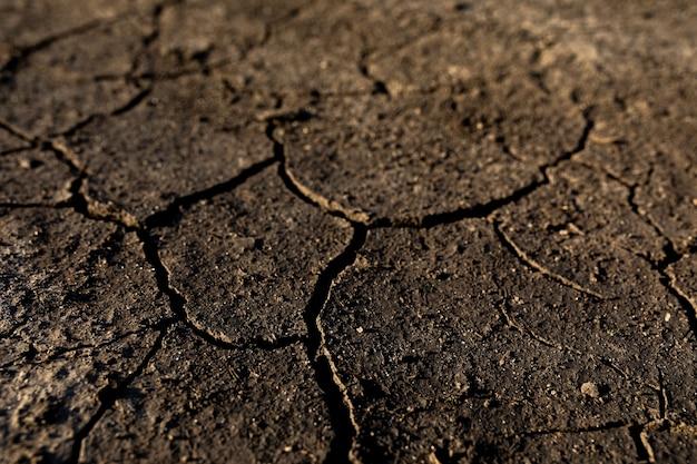 Globalne ocieplenie i niedobór wody na planecie. susza, popękana ziemia. naturalna tekstura gleby z pęknięciami, nieużytki. symbol zmian pogody i klimatu