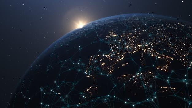 Globalne połączenie sieciowe. globalna sieć technologii komunikacyjnych. globalna światowa sieć i telekomunikacja na ziemi kryptowaluta i blockchain oraz iot. elementy tego obrazu dostarczone przez nasa