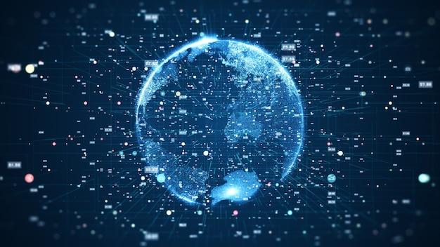 Globalne połączenie sieciowe i koncepcja połączeń danych. globalna światowa sieć technologii komunikacyjnych.
