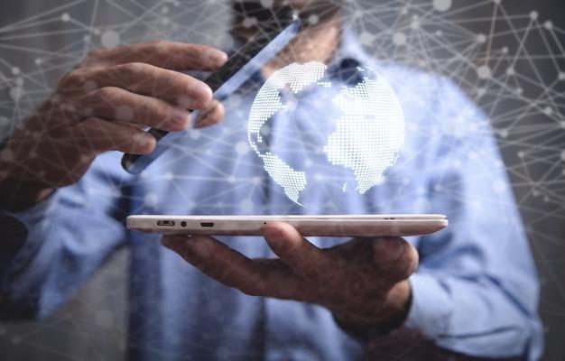 Globalne połączenie sieciowe. koncepcja globalnego biznesu i internetu