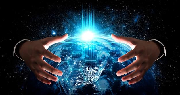 Globalne połączenie sieciowe obejmujące ziemię z połączeniem innowacyjnej percepcji