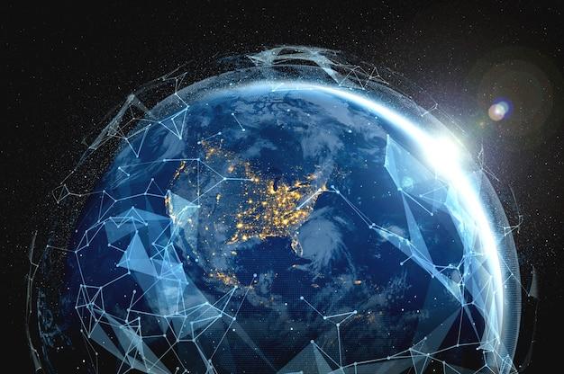 Globalne połączenie sieciowe pokrywające ziemię liniami innowacyjnego postrzegania