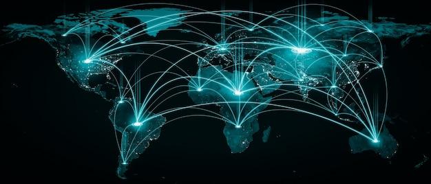Globalne połączenie sieciowe pokrywające ziemię liniami innowacyjnej percepcji