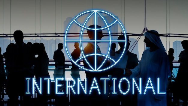 Globalny światowy biznesowy marketingowy graficzny ikony pojęcie