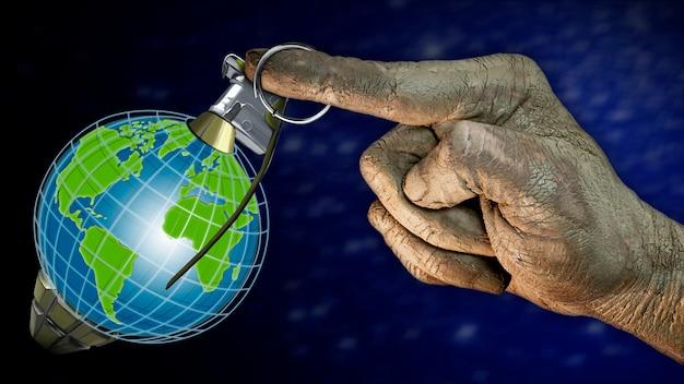 Globus w formie granatu ludzka ręka wyciągająca pierścień tło gwiaździstego nieba