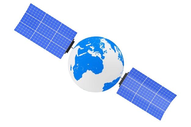 Globus ziemi jako satelita na białym tle. renderowanie 3d