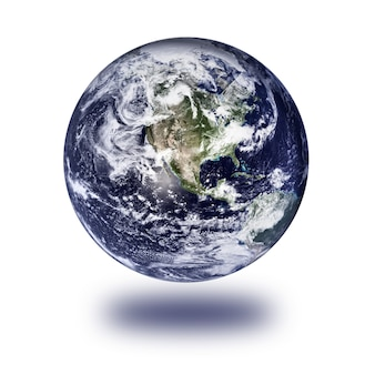 Globus ziemi na białym tle. elementy tego obrazu dostarczone przez nasa