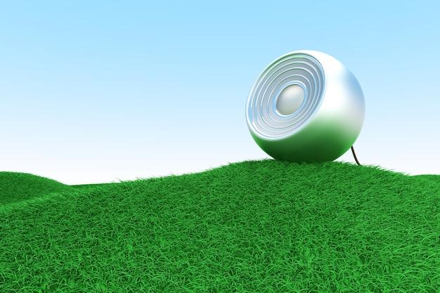 Głośnik na zielonym wzgórzu. 3d renderowane ilustracja.