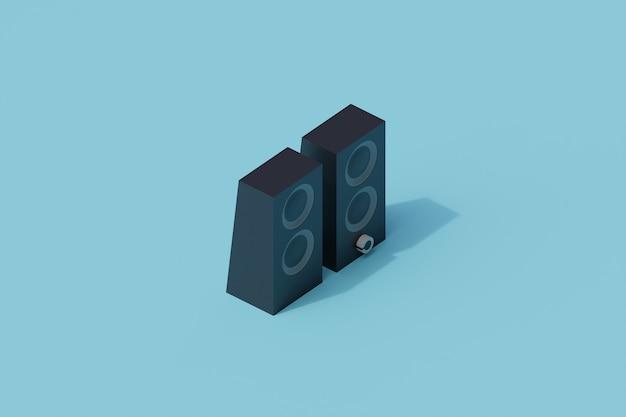 Głośnik pojedynczy izolowany obiekt. 3d render ilustracji izometryczny