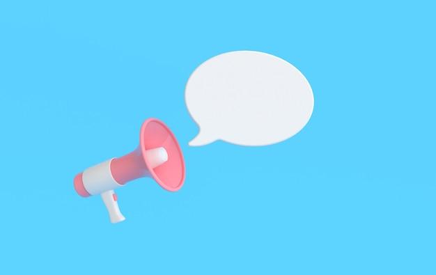 Głośnik renderowania 3d, megafon, bańka wiadomości. serwis dla koncepcji reklamy influencer.