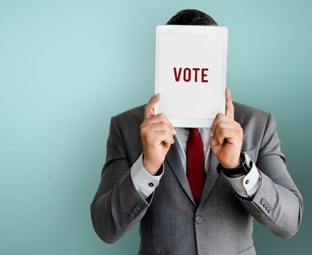 Głosuj wybierz decyzję wybór polityczny rejestracja