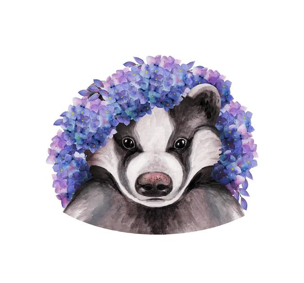 Głowa borsuka w wieńcu z niebieskich kwiatów