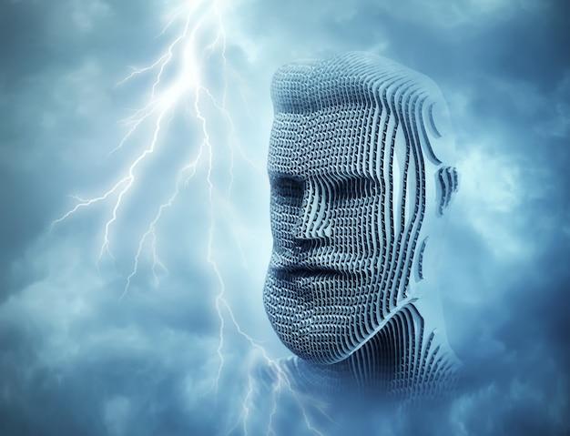 Głowa człowieka przed błękitnym niebem grzmotu
