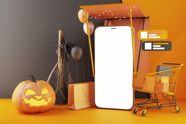 Głowa dyni, świeca, miotła i kapelusz czarownicy i wózek na zakupy wokół smartfona z białym ekranem na tle czarno-pomarańczowego wzoru, halloween zakupy online 3d renderowania ilustracja