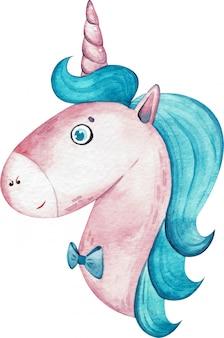 Głowa jednorożca akwarela chłopiec z niebieskimi włosami na białym tle. ręcznie rysowane ilustracji.