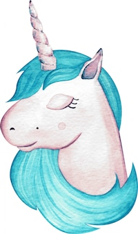Głowa jednorożca akwarela słodkie dziewczyny z niebieskimi włosami na białym tle. ilustracja rysowane ręcznie.