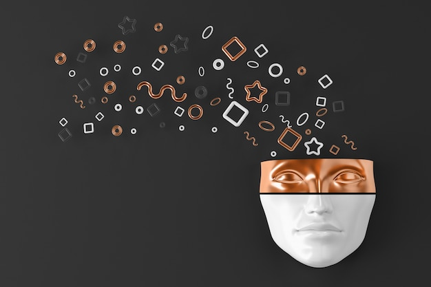 Głowa kobiety na ścianie z eksplodującymi geometrycznymi kształtami lecącymi w różnych kierunkach. ilustracja 3d