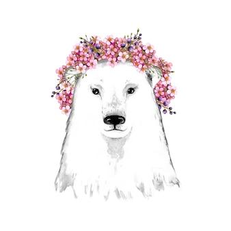 Głowa niedźwiedzia polarnego, niedźwiedź polarny w wieńcu, kwiaty, wiosna
