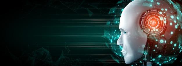 Głowa robota z bliska z przyszłą grafiką