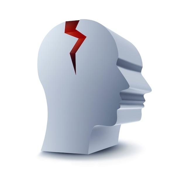 Głowa z czerwonym pęknięciem na białym tle