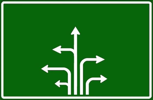 Główna droga w prawo strzałki kierunkowe etykiet znak