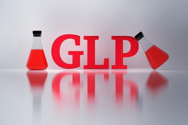 Glp, dobra praktyka laboratoryjna, czerwone błyszczące litery i laboratoryjne kolby erlenmeyera odbite na białej powierzchni.