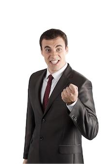 Gniewni krzyczący biznesowi mężczyzna