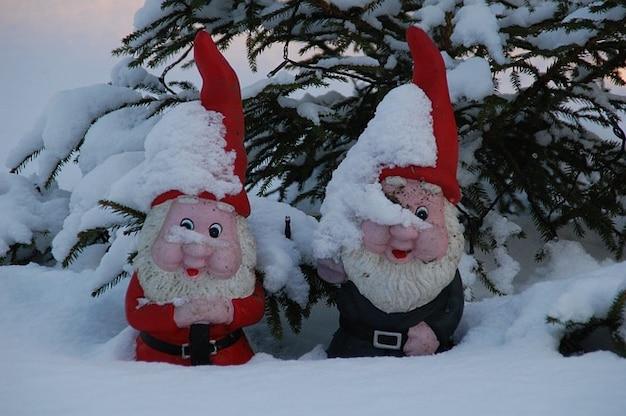 Gnomy ogród gnome zima śnieg