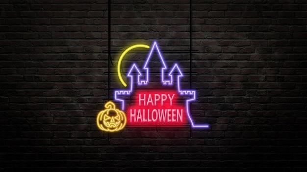 Godło znak halloween w stylu neonowym na tle ściany z cegły