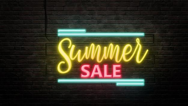 Godło znak letniej sprzedaży w stylu neonowym na tle ściany z cegły