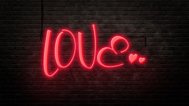 Godło znak miłości w stylu neonowym na tle ściany z cegły