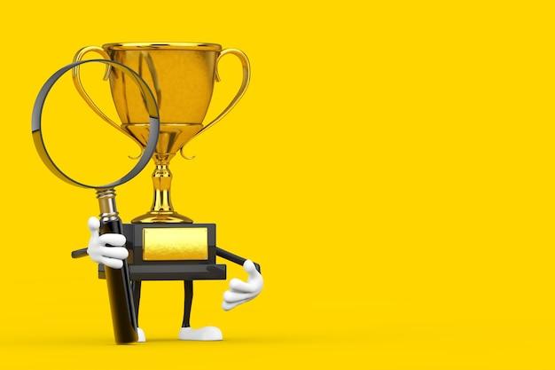 Golden award zwycięzca trofeum maskotka osoba charakter z lupą na żółtym tle. renderowanie 3d