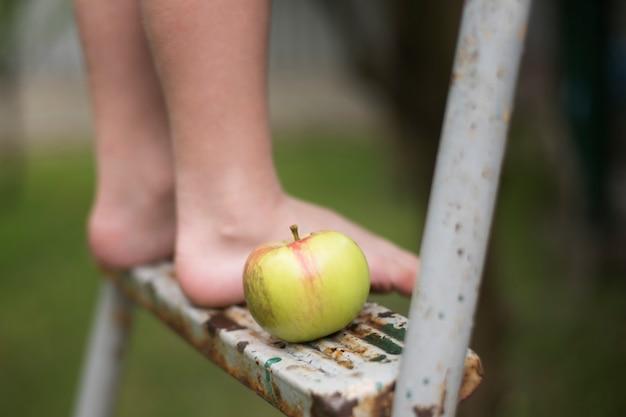 Gołe stopy dzieci na drabinie. zbliżenie. na dworze