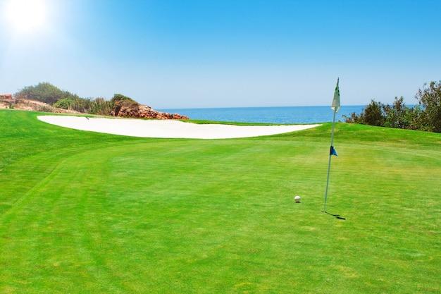 Golfa zieleni pole na ścianie morze. w lecie w portugalii.