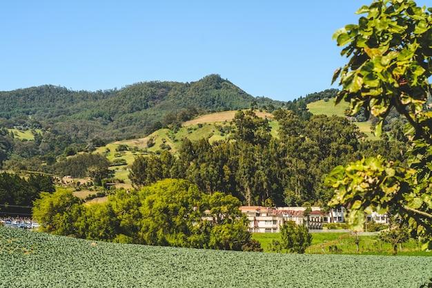 Góra, błękitne niebo w cartago kostaryka