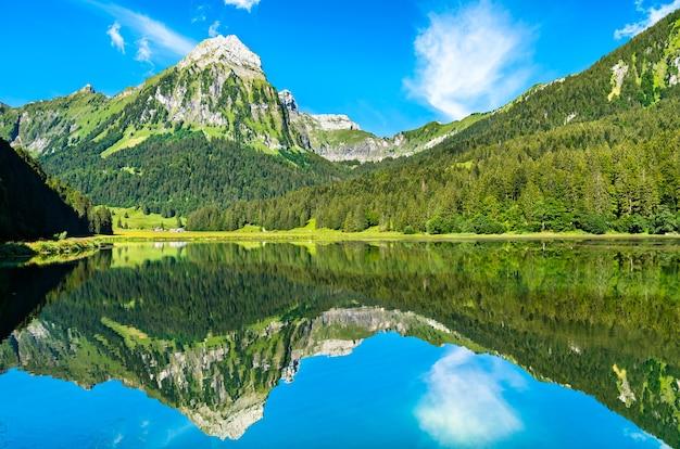 Góra brunnelistock nad jeziorem obersee w alpach szwajcarskich