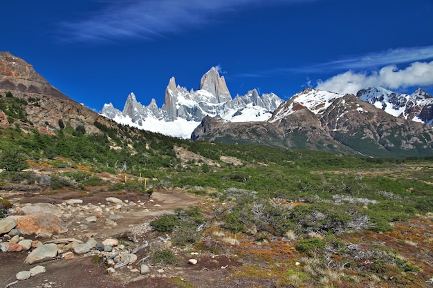 Góra fitz roy, el chalten, patagonia, argentyna