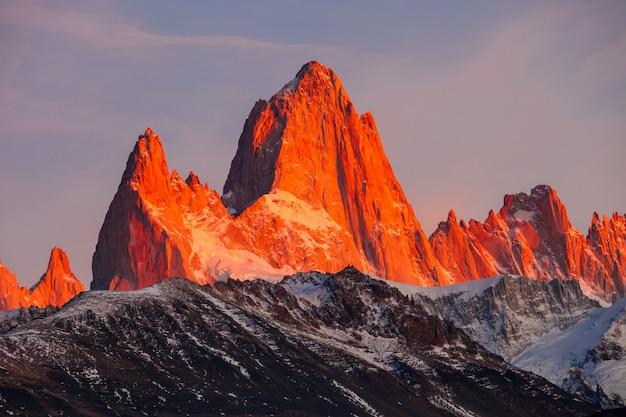 Góra fitz roy, patagonia