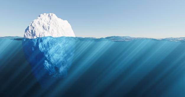 Góra lodowa unosząca się w morzu z krystalicznie czystą wodą i promieniami słonecznymi. koncepcja globalnego ocieplenia. renderowanie 3d
