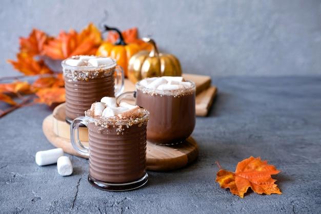 Gorąca czekolada z piankami. koncepcja przytulnych wakacji i nowego roku. czas zimowy i jesień. koncepcja wakacje.