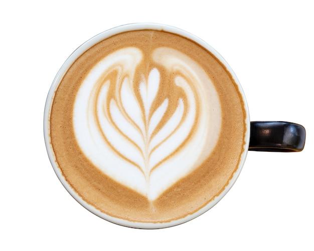 Gorąca kawa cappuccino latte na białym tle