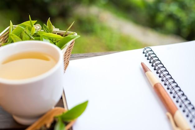 Gorąca zielona herbata, zdrowy świeży napój.
