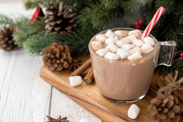 Gorący przyprawiający bożenarodzeniowy czekoladowy napój z marshmallows polewą